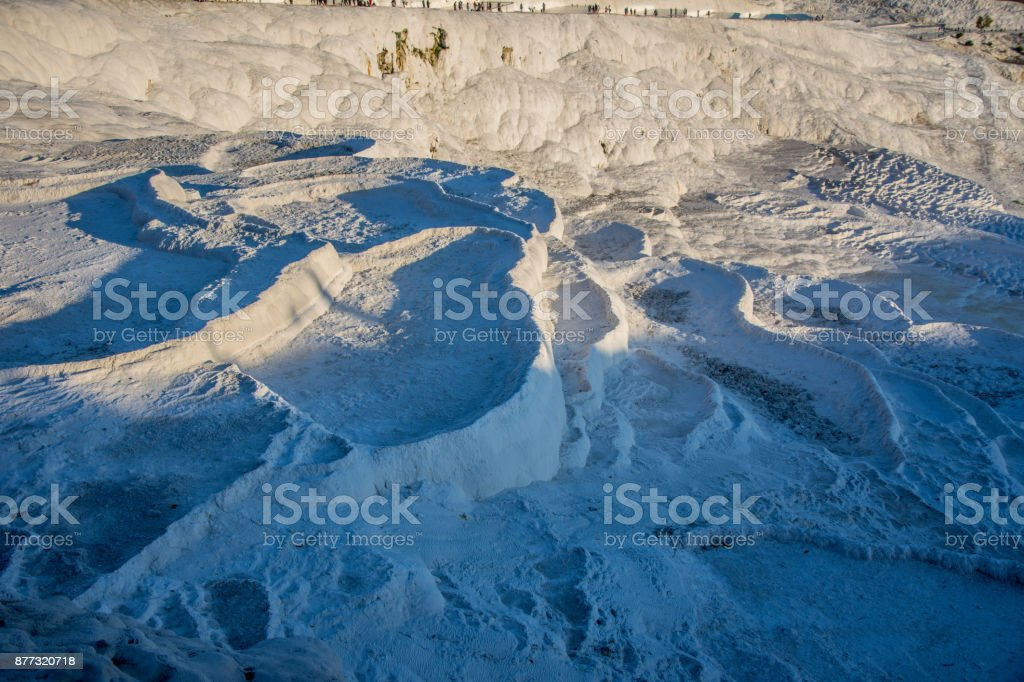 a lot of small waterpools in Pamukkale stock photo