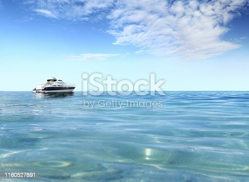 istock a luxury private motor yacht on tropical sea surface with blue sky clouds sunshine, empty background copy space 1160527891