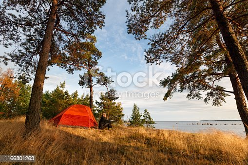 a man sits by a tent on the shore under the trees