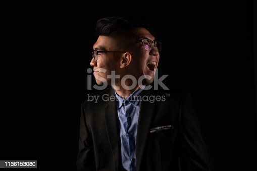 a man with 2 faces happy and angry with one image using multiple exposure technique