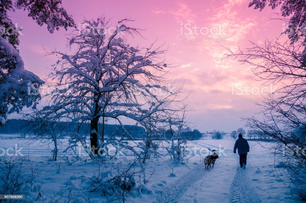 ein Mann mit einem Hund im verschneiten Wald im Winter bei Sonnenuntergang spazieren – Foto