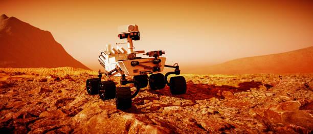 ein mars-rover erkundet den roten planeten (3d-rendering) - demographie deutschland stock-fotos und bilder
