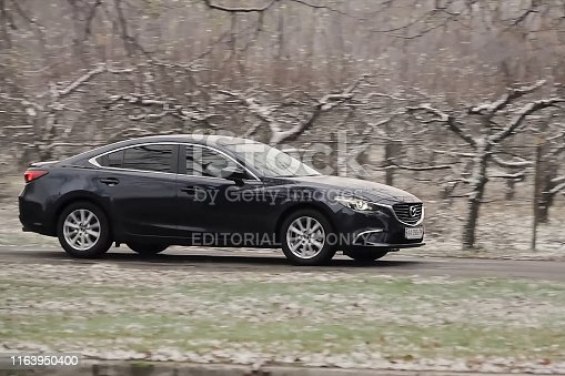 Moscow, Russia - November 12, 2018: Mazda 6 car cars appearance, performance tests and review