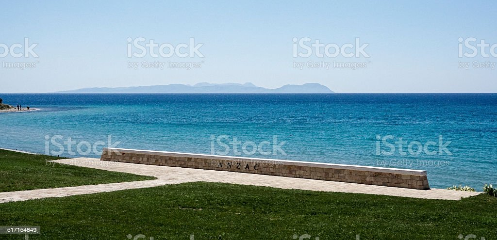 a memorial on the waterfront of Anzac Cove stock photo
