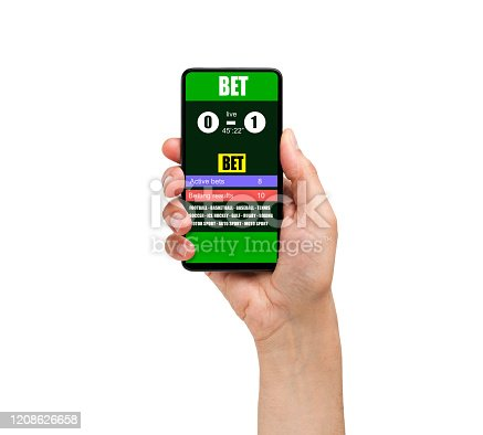 952196272 istock photo a mobile phone shows a betting application with live results and updates with white background 1208626658