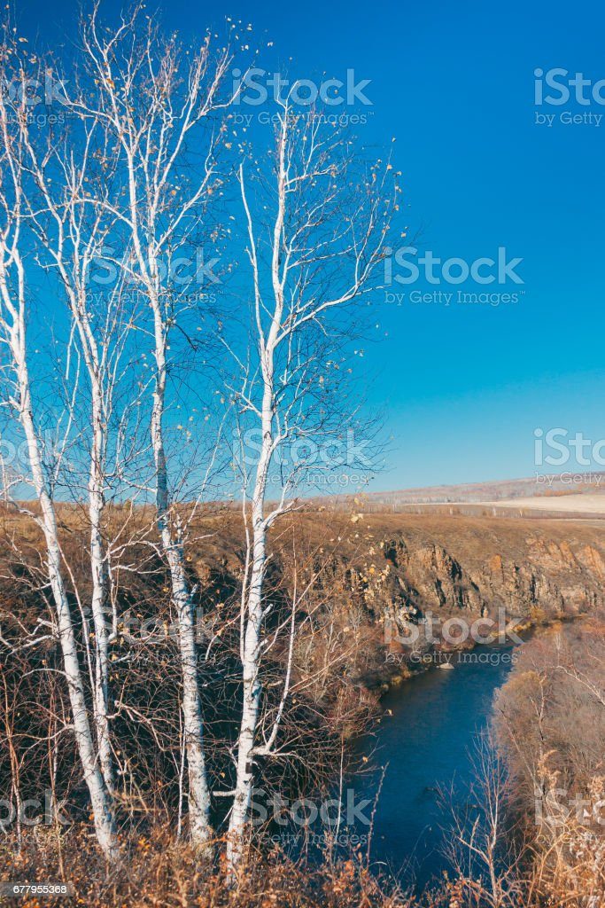 a moutain landscape with a river ,lake in forest in Inner Mongolia Hulunbeier royalty-free stock photo