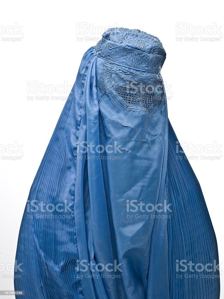 Muslimische Frau trägt eine blaue burka – Foto