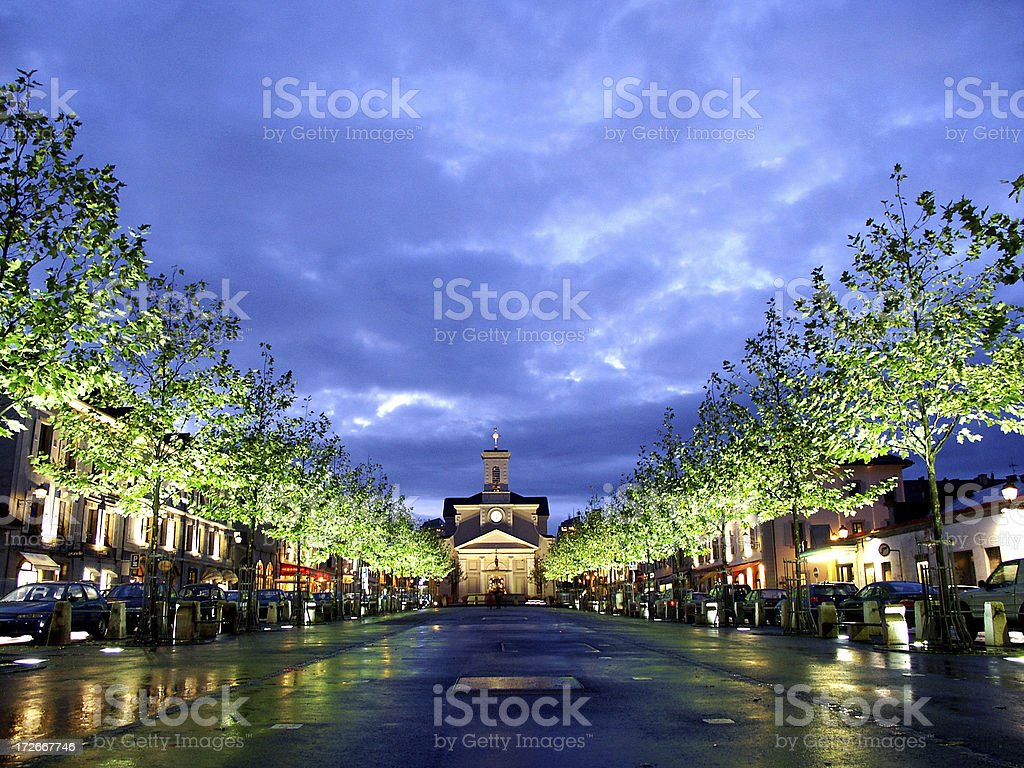 a night shot of Carouge/Switzerland stock photo