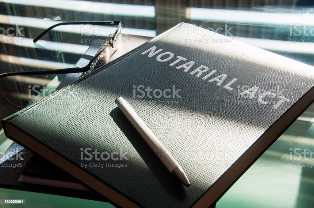 a notarial act to be signed stock photo