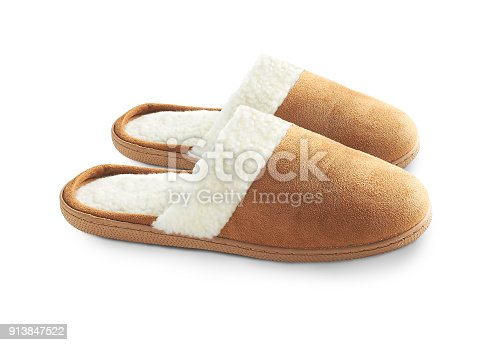 a pair of suede slippers