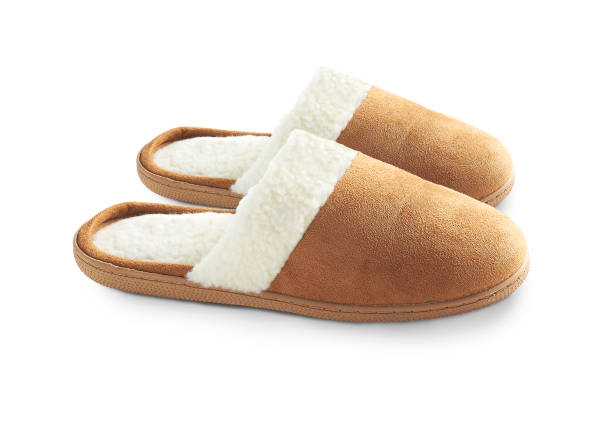 a pair of suede slippers stock photo