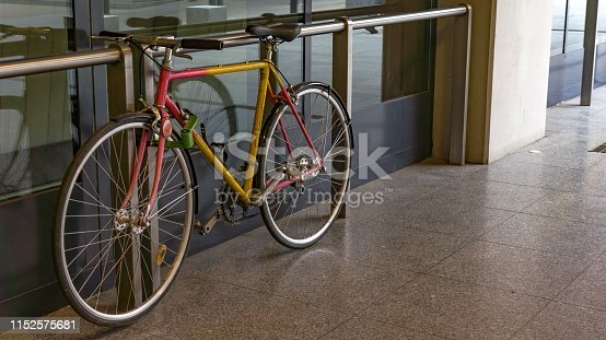 a parked bike at the 4th metro station in Budapest.
