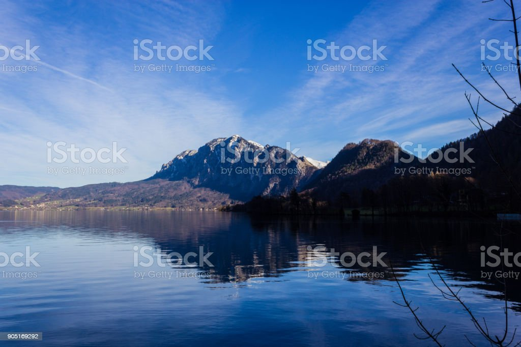 a part of the Attersee in winter stock photo