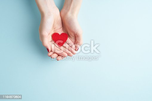 young hands holding or giving a red heart, concept of family and donation or adoption, helth care the medicine concept