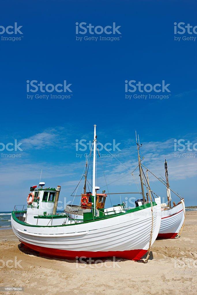 a photo of fishing boats at the beach (Denmark) royalty-free stock photo