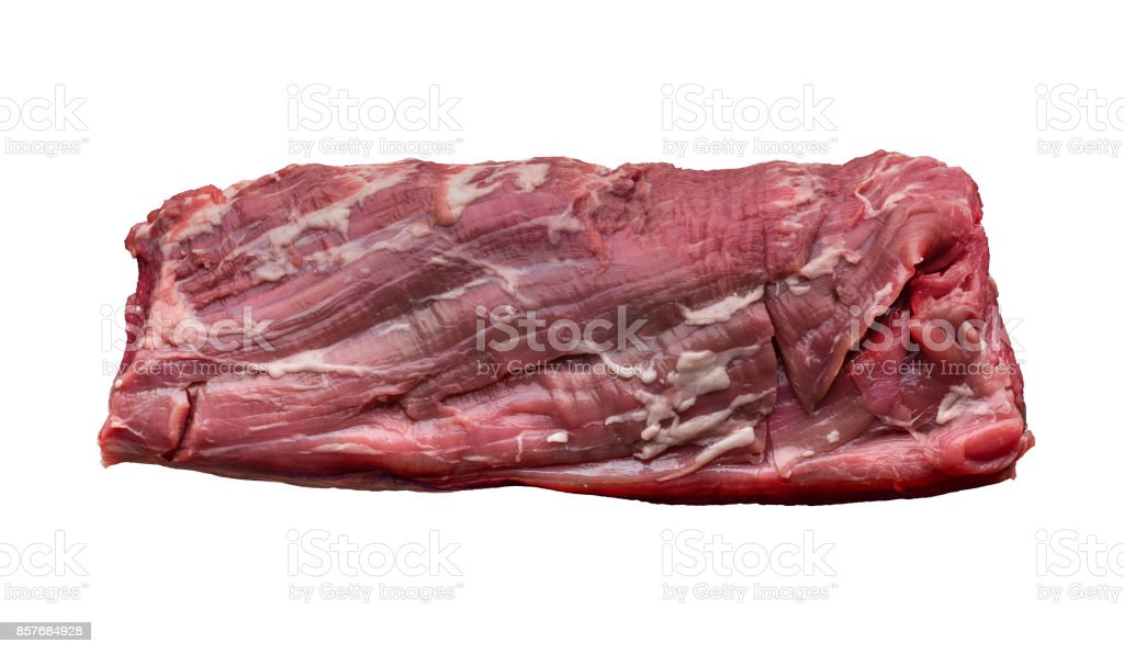 a piece of fresh raw meat on white background stock photo