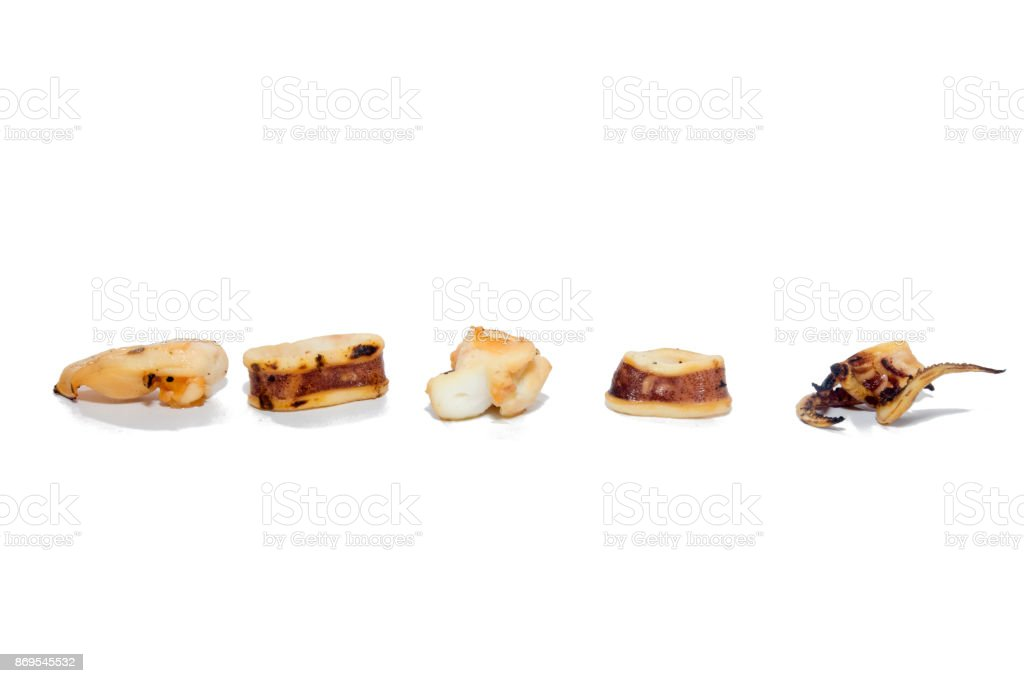 a piece of Grilled squid on white background stock photo