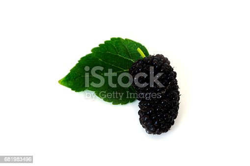 878725126 istock photo a pile of Mulberry with leaf Isolated on white background blackberry 681983496