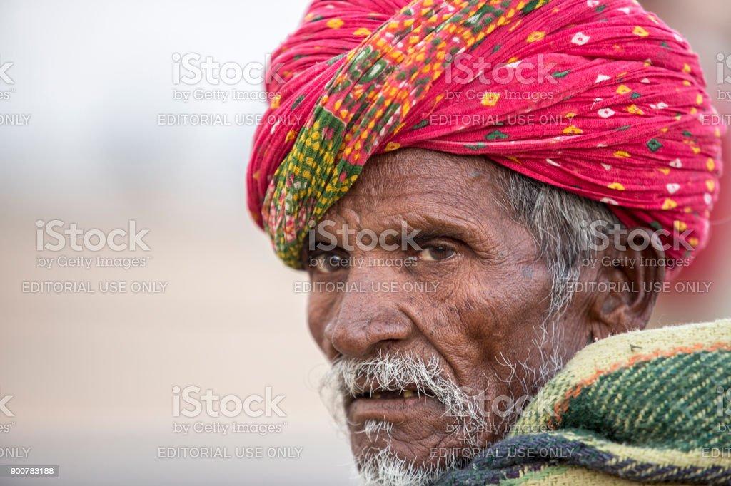 a portrait fo a rajasthani man stock photo