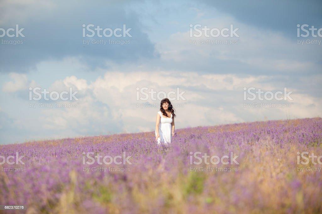 een zwangere vrouw op een gebied van bloemen van lavendel paars royalty free stockfoto