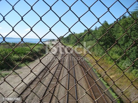 a railroad track over a wire fence