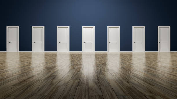 a room with seven doors to choose stock photo