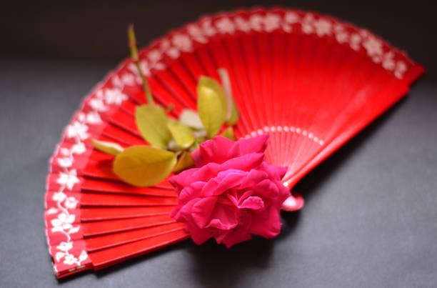 a rose on a flamenco fan