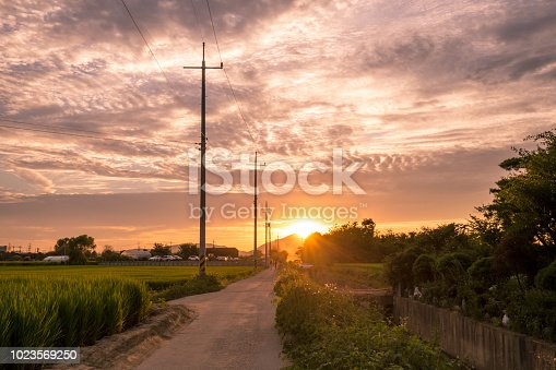 a rural sunset view