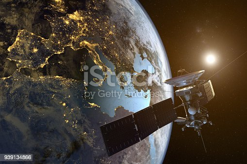 3D rendering of a satellite orbiting the earth with illuminated cities at night.  Map From: http://planetpixelemporium.com/earth.html  Software for rendering: https://www.blender.org