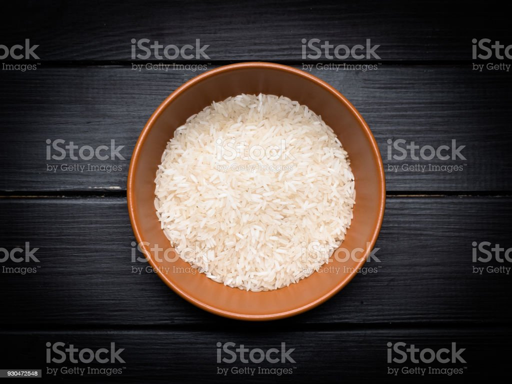 a serving of rice on the kitchen table stock photo