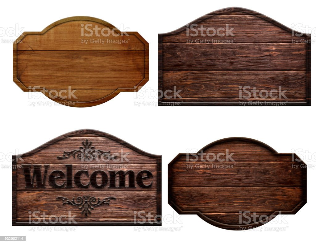 a set of dark brown wooden boards isolated on a white background stock photo