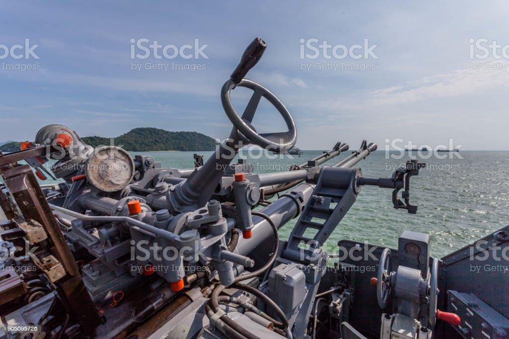 A Shooting Gun On The Battleship Stock Photo - Download