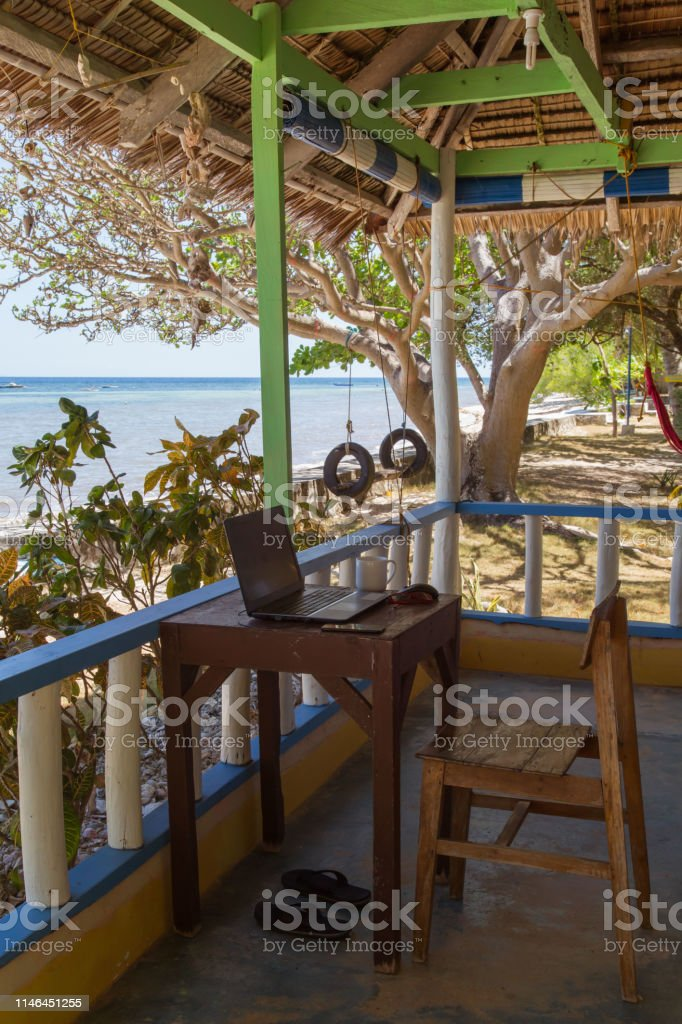 A Simple Life Style Home Office At The Beach Cottage Stock Photo