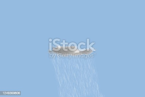 istock a single small coud with pouring rain in the sky, isolated small concept, minimalist 1249369806