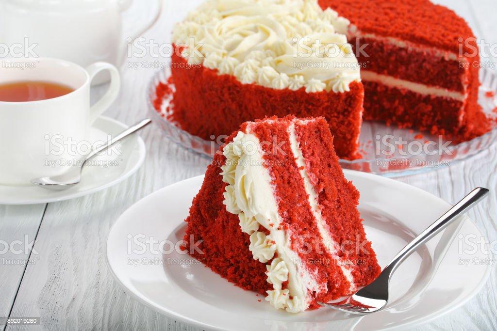 a slice of red velvet cake stock photo