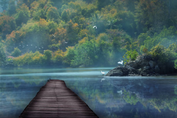 a small dock on the edge of the dream lake stock photo