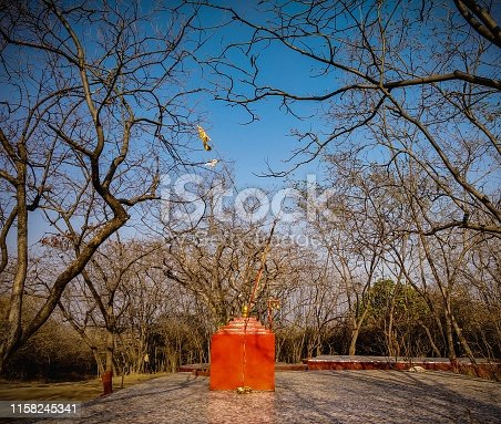 a small saffron temple in the jungle with lot of leaves less trees on ground.