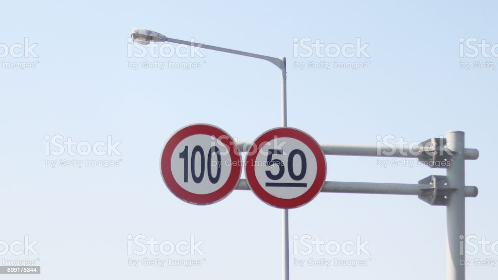 a speed-limit sign stock photo