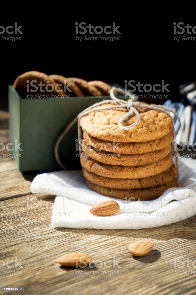a stack of cookies in a box zbiór zdjęć royalty-free