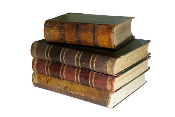 en trave gamla böcker isolerade - ancient white background bildbanksfoton och bilder