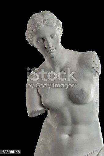 868668568 istock photo a statue of Venus, plaster column on a black background 827255146