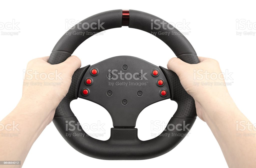 a steering wheel for racing, a controller similar to a car steering wheel, holding hands, isolated on white royalty-free stock photo