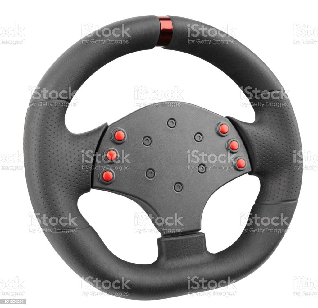 a steering wheel for racing, a controller similar to a car steering wheel, isolated on white royalty-free stock photo