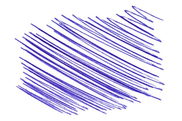 ein glücksfall von einem blauen stift. hand auf papier, isoliertes element auf weißem hintergrund gezeichnet. feder strokess - scribble stock-fotos und bilder