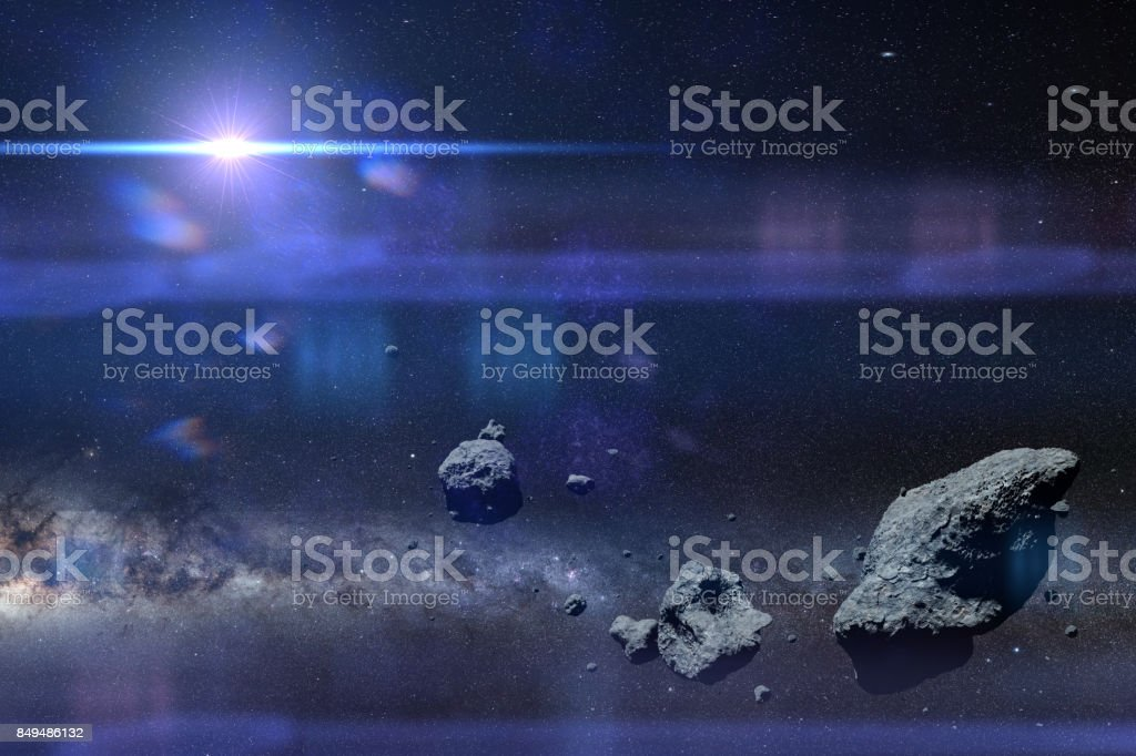 a swarm of asteroids in front of the Milky Way galaxy and the Sun (3d space illustration, elements of this image are furnished by NASA) stock photo