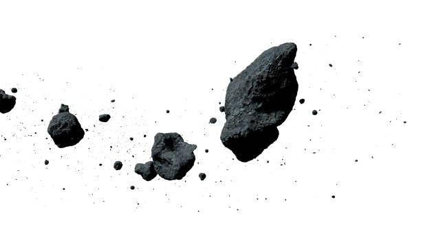 a swarm of asteroids isolated on white background (3d illustration) stock photo