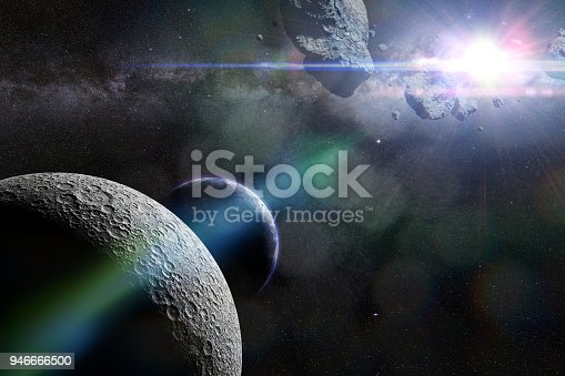 istock a swarm of asteroids moving towards planet Earth crossing the Moon's orbit 946666500