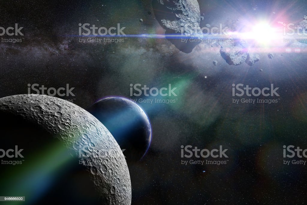a swarm of asteroids moving towards planet Earth crossing the Moon's orbit stock photo