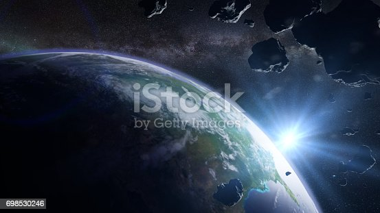 istock a swarm of asteroids moving towards planet Earth 698530246
