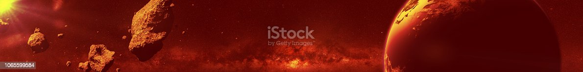istock a swarm of sunlit asteroids moving towards planet Earth 1065599584
